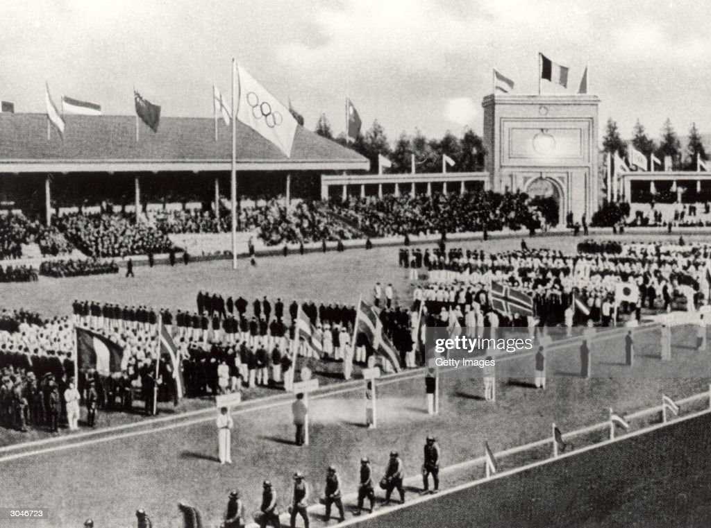 General view of the Opening ceremonies of the VII Olympic Games on April 20 1920 in Antwerp Belgium