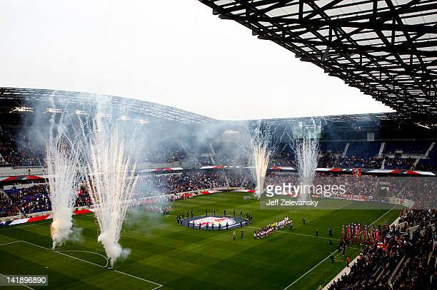 A general view of the opening ceremony at the Red Bull Arena before a game between the New York Red Bulls and the Colorado Rapids during their game...