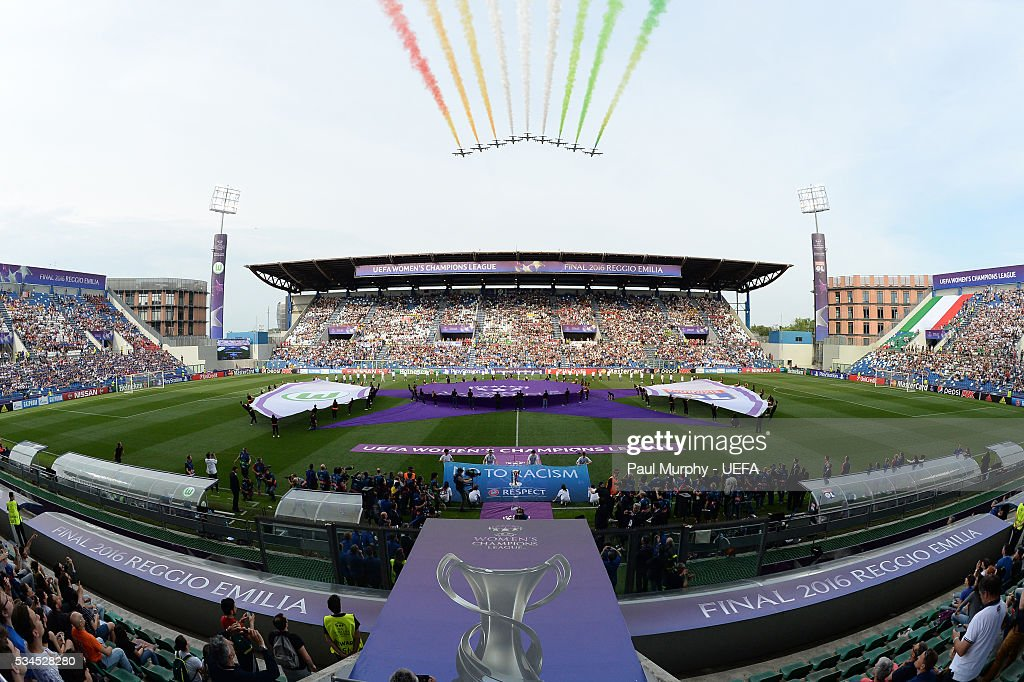 A general view of the opening ceremony at the UEFA Women's Champions League Final at Mario Rigamonti Stadium on May 26, 2016 in Brescia, Italy.