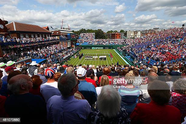 General view of the opening ceremony during Day One of the World Group Quarter Final Davis Cup match between Great Britain and France at Queens Club...
