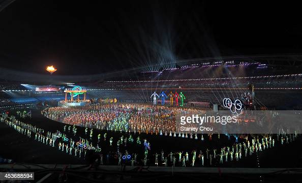 General view of the opening ceremony during the opening ceremony for the Nanjing 2014 Summer Youth Olympic Games at the Nanjing Olympic Sports Centre...