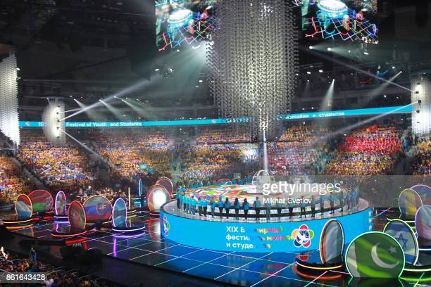 A general view of the opening ceremony of the 19th World Festival of Youth and Students in Sochi Russia October 2017 Russia hosts a SovietStyle youth...