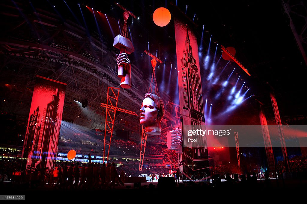 A general view of the opening ceremony of the Sochi 2014 Winter Olympics at the Fisht Olympic Stadium on February 7, 2014, in Sochi, Russia.