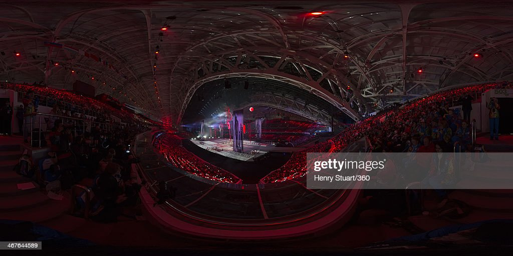 A general view of the opening ceremony of the Sochi 2014 Winter Olympics at the Fisht Olympic Stadium on February 7, 2014 in Sochi, Russia.