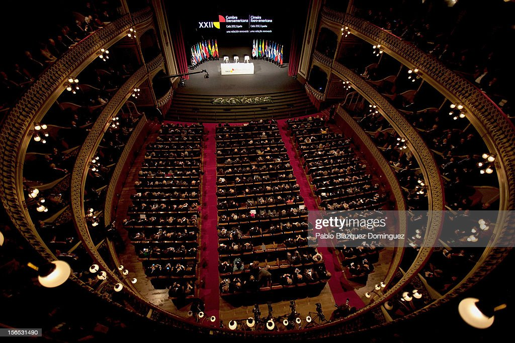 A general view of the opening ceremony of the the XXII Ibero-American Summit at Falla Theatre on November 16, 2012 in Cadiz, Spain. The 22nd Ibero-American Summit is Mariano Rajoy's first as President of Spain and will be attended by 16 Foreign Affairs ministers. The main issues of the meeting will be the economic crisis and how Latin American countries can contribute to the Eurozone recovery.