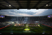 A general view of the opening ceremony prior to kickoff during the 2015 Rugby World Cup Pool A match between England and Fiji at Twickenham Stadium...