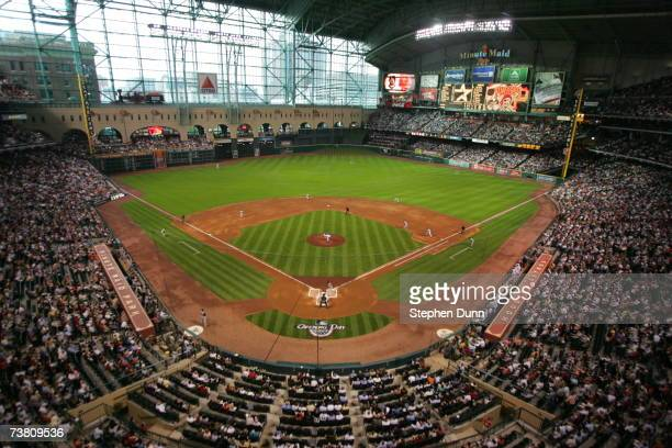 A general view of the opening day game between the Pittsburgh Pirates and the Houston Astros on April 2 2007 at Minute Maid Park in Houston Texas The...