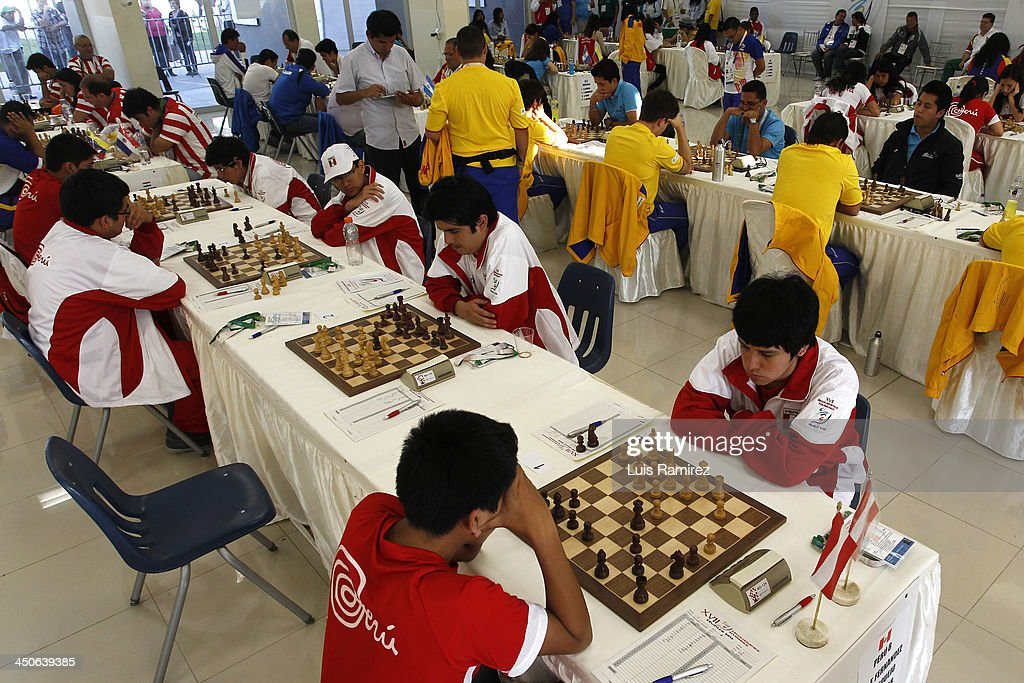 A general view of the opening day of the Chess competition as part of the XVII Bolivarian Games Trujillo 2013 at Colegio San Jose Library on November 18, 2013 in Lima, Peru.