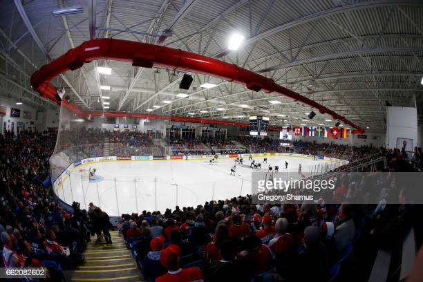 General view of the opening face off during a game between Canada and United States at the 2017 IIHF Womans World Junior Championships at USA Hockey...