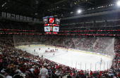General view of the opening faceoff between the Ottawa Senators and the New Jersey Devils on October 27 2007 at the Prudential Center in Newark New...
