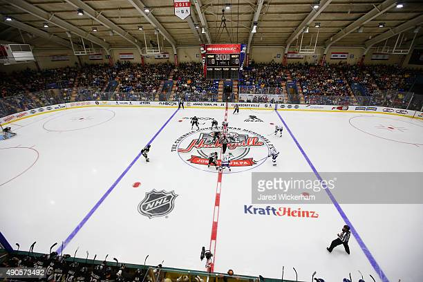 A general view of the opening faceoff between the Tampa Bay Lightning and the Pittsburgh Penguins to start the NHL Kraft Hockeyville USA preseason...