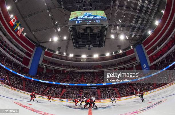A general view of the opening faceoff during the Global Series game between the Ottawa Senators and the Colorado Avalanche at Ericsson Globe on...