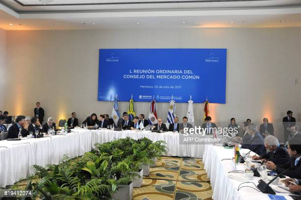 General view of the opening of the Mercosur Summit in Mendoza 1050 km west of Buenos Aires on July 20 2017 / AFP PHOTO / Andres Larrovere