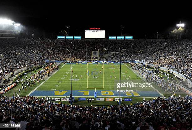 General view of the opening play between the USC Trojans and the UCLA Bruins at the Rose Bowl on November 22 2014 in Pasadena California