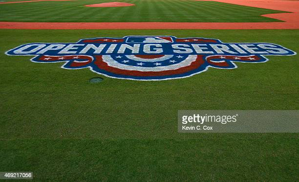 A general view of the opening series banner down the first baseline after batting practice prior to the game between the Atlanta Braves and the New...