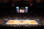 A general view of the opening tipoff between the New York Knicks and the Boston Celtics in Game Three of the Eastern Conference Quarterfinals in the...
