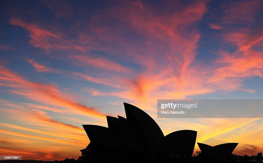 A general view of the Opera House sails at sunrise prior to a Sydney Festival photo opprtunity at the Sydney Opera House on January 16, 2013 in Sydney, Australia.