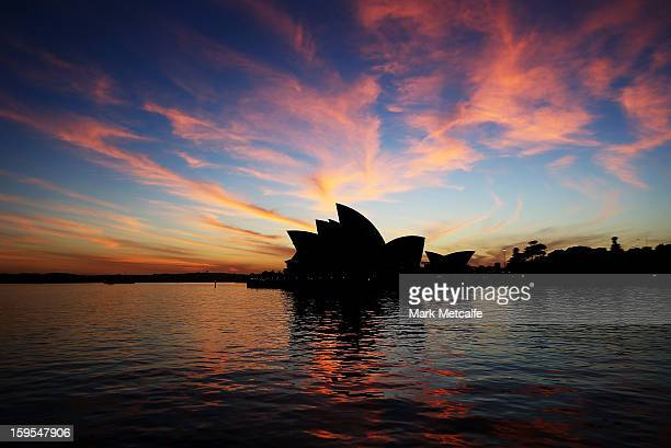 A general view of the Opera House sails at sunrise prior to a Sydney Festival photo opprtunity at the Sydney Opera House on January 16 2013 in Sydney...