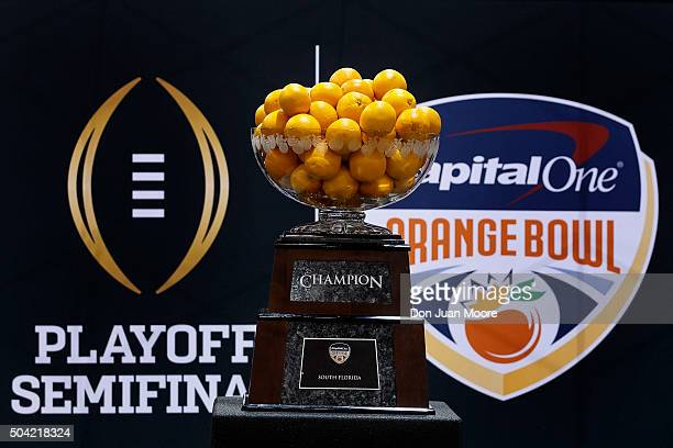 A general view of the Orange Bowl Trophy won by the Clemson Tigers during Media Day before the College Football Playoff National Championship at...