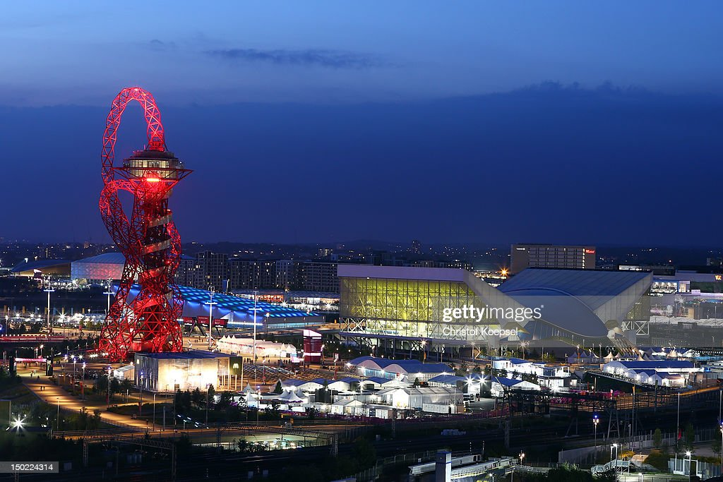 A general view of the Orbit and the Aquatic centre during the closing ceremony of the 2012 London Olympic Games on August 12 2012 in London England...