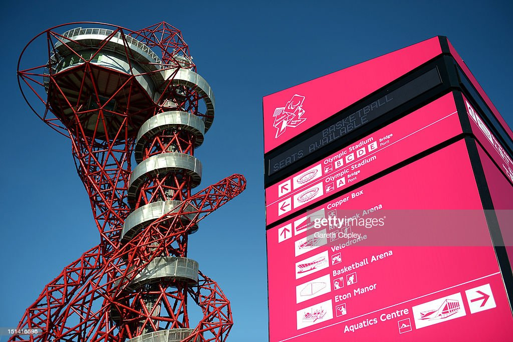 A general view of the Orbit tower as spectators arrive at the Olympic Park prior to the day's events on day 9 of the London 2012 Paralympic Games at on September 7, 2012 in London, England.