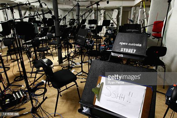 A general view of the orchestra pit on the set of La Traviata during a press conference on March 21 2012 in Sydney Australia The outdoor production...