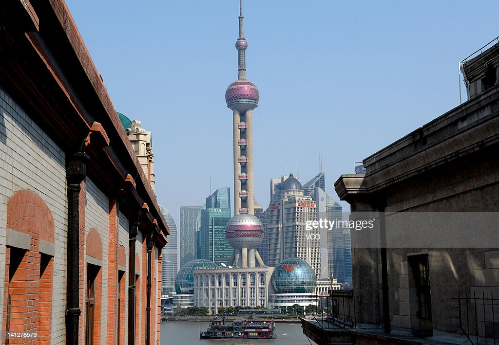 A general view of the Oriental Pearl TV Tower at Lujiazui Finance and Trade Zone on March 13, 2012 in Shanghai, China. Shanghai embraced a sunny day on Tuesday, as the cold wet weather has persisted for over a month.