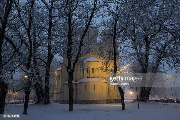 A general view of the Orthodox church on January 13 2017 in Ljubljana Slovenia Most of Slovenia was covered by heavy snowfalls for the first time...