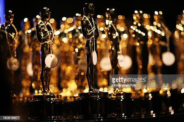 General view of the Oscar statues backstage during the Oscars held at the Dolby Theatre on February 24 2013 in Hollywood California