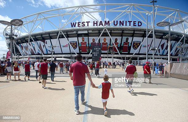 A general view of the out side of the stadium as fans make their way to the game during the PreSeason Friendly between West Ham United and Juventus...