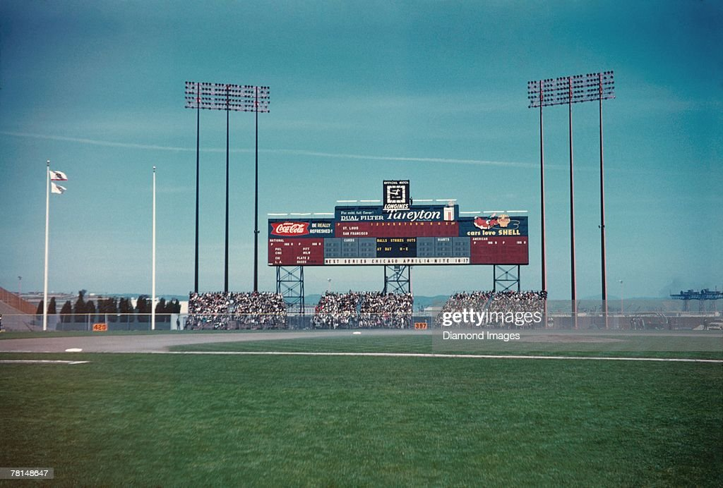 A general view of the outfield bleachers and scoreboard prior to the start of the Opening Day game on April 12 1960 against the San Francisco Giants...