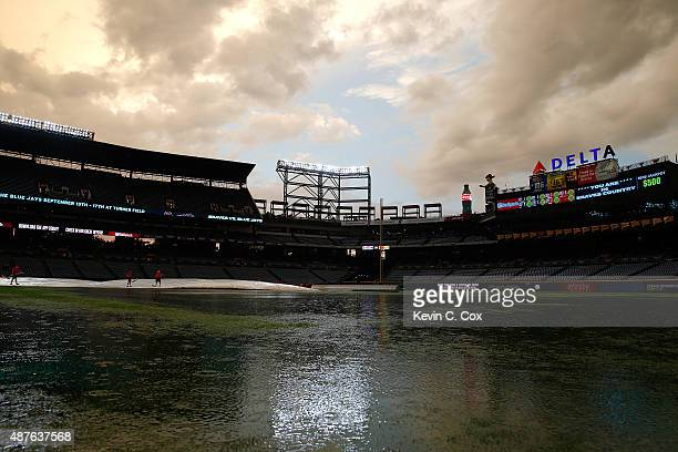 A general view of the outfield during a rain delay prior to the Atlanta Braves hosting the New York Mets at Turner Field on September 10 2015 in...