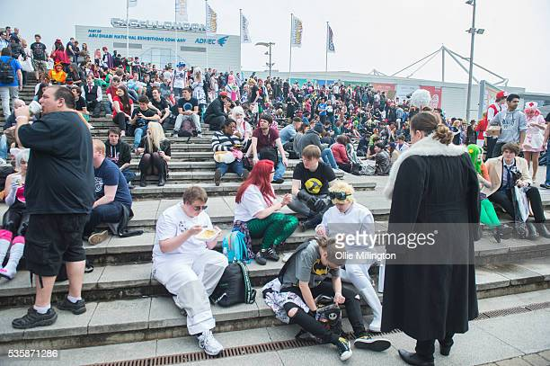 general view of the outide area where cosplay enthusiast met up on Day 2 of MCM London Comic Con at The London ExCel on May 28 2016 in London England