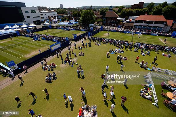 A general view of the outside courts during the Aegon International day four at Devonshire Park on June 24 2015 in Eastbourne England