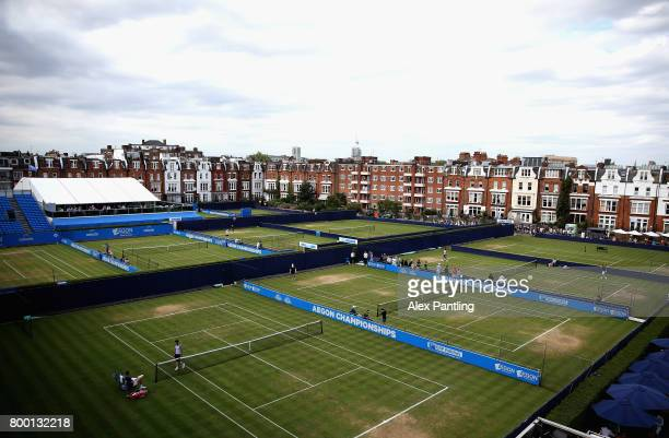 A general view of the outside courts on day five of the 2017 Aegon Championships at Queens Club on June 23 2017 in London England