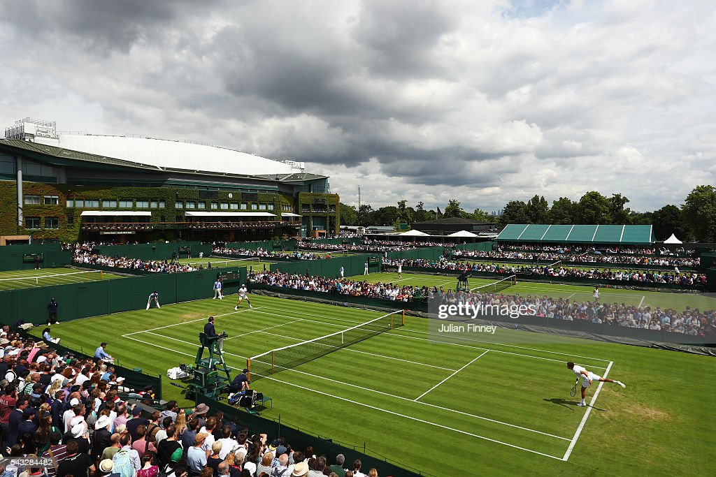 A general view of the outside courts on day one of the Wimbledon Lawn Tennis Championships at the All England Lawn Tennis and Croquet Club on June 27th, 2016 in London, England.