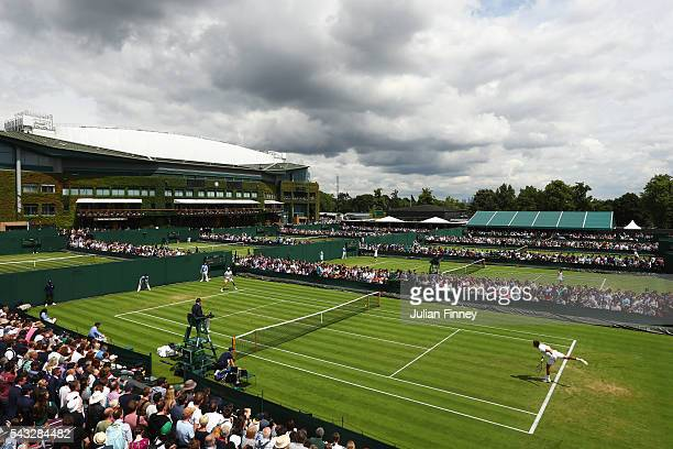 A general view of the outside courts on day one of the Wimbledon Lawn Tennis Championships at the All England Lawn Tennis and Croquet Club on June...