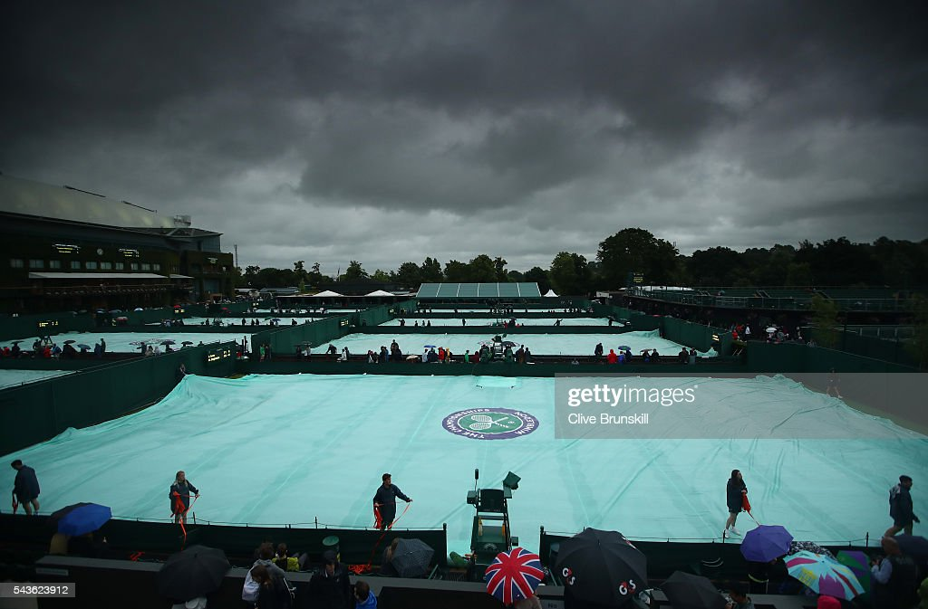 A general view of the outside courts on day three of the Wimbledon Lawn Tennis Championships at the All England Lawn Tennis and Croquet Club on June 29, 2016 in London, England.