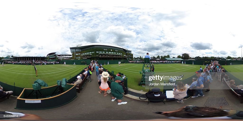A general view of the outside courts on day two of the Wimbledon Lawn Tennis Championships at the All England Lawn Tennis and Croquet Club on June 28th, 2016 in London, England.