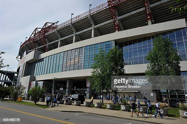 A general view of the outside of LP Field during a game between the Tennessee Titans and the Dallas Cowboys on September 14 2014 in Nashville...