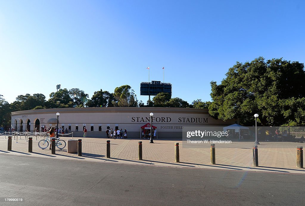A general view of the outside of Stanford Stadium prior to the start of an NCAA college football game between San Jose State University Spartans and Stanford University Cardinal at Stanford Stadium on September 7, 2013 in Palo Alto, California.