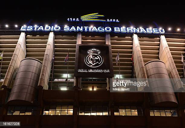 A general view of the outside of the Estadio Santiago Bernabeu ahead of the UEFA Champions League Round of 16 first leg match between Real Madrid and...