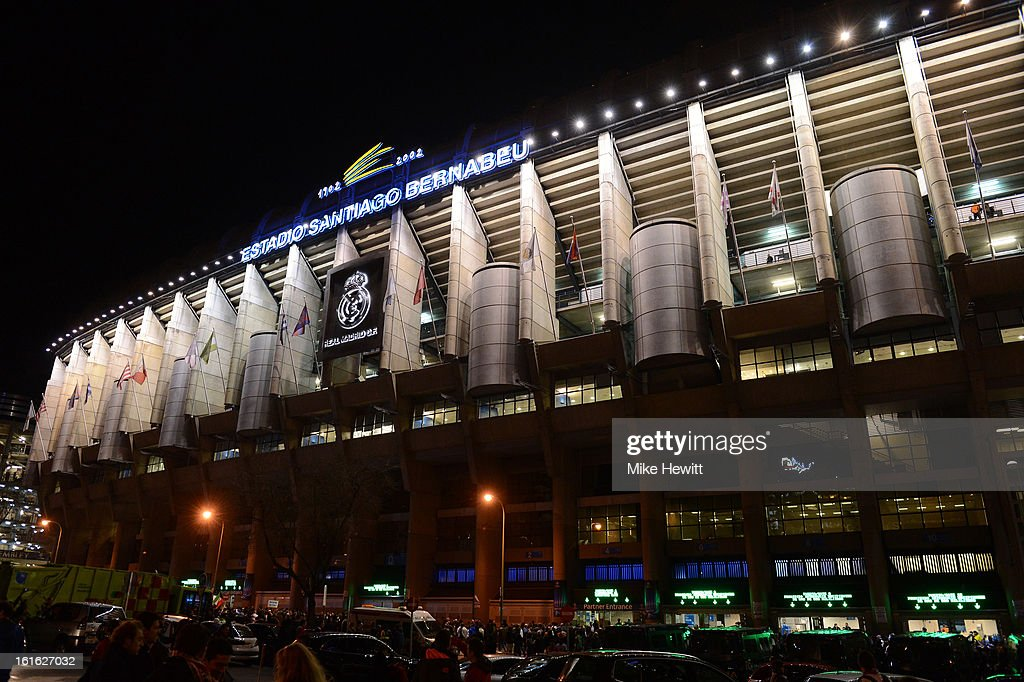 A general view of the outside of the Estadio Santiago Bernabeu ahead of the UEFA Champions League Round of 16 first leg match between Real Madrid and Manchester United at Estadio Santiago Bernabeu on February 13, 2013 in Madrid, Spain.