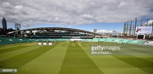 A general view of the Oval cricket ground is seen during a practice session at the Oval cricket ground in London on August 13 ahead of the fifth Test...