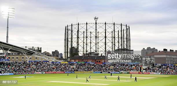 A general view of The Oval cricket stadium under floodlights is seen as India play against Pakistan in an ICC World Twenty20 warmup match at the Oval...
