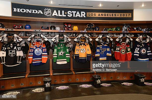 A general view of the Pacific Division locker room is seen prior to the 2017 Coors Light NHL AllStar Skills Competition at Staples Center on January...