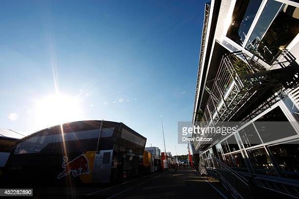 A general view of the paddock during previews ahead of the German Grand Prix at Hockenheimring on July 17 2014 in Hockenheim Germany