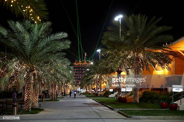 A general view of the paddock during qualifying for the Bahrain Formula One Grand Prix at Bahrain International Circuit on April 18 2015 in Bahrain...