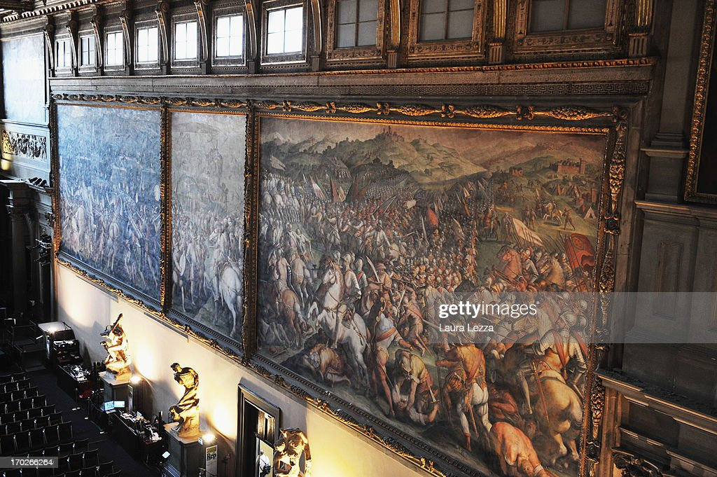 A general view of the painting The Battle of Marciano (1st R) by Vasari in Palazzo Vecchio on June 8, 2013 in Florence, Italy. The latest book by the American writer Dan Brown is set largely in Florence historic centre and the plot is based on Dante's Divina Commedia ('Divine Comedy') and its Inferno. In the novel there are many references to his city and to his work.