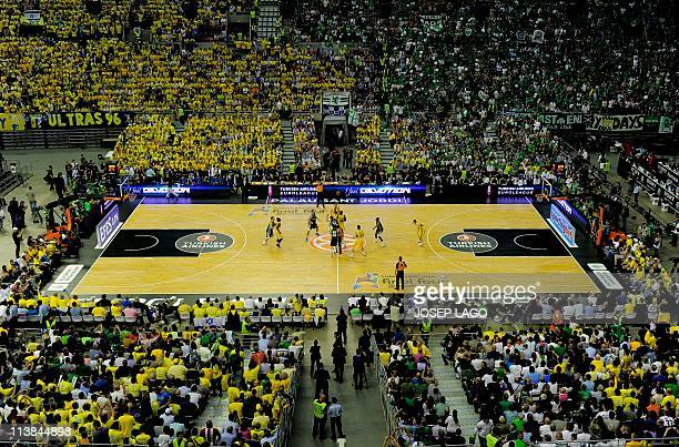 General view of the Palau Sant Jordi during the Euroleague basketball final match between Maccabi Electra and Panathinaikos at the Palau Sant Jordi...